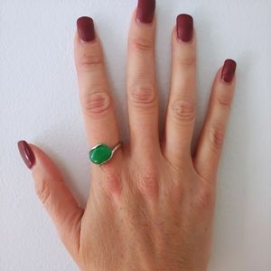 Emerald Natural Stone Silver Oval Ring Size 9